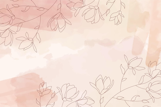 Sepia watercolor pastel background with hand drawn flower elements