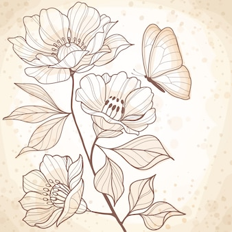 Sepia watercolor vintage floral illustration
