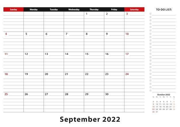 Сентябрь 2022 г. ежемесячная неделя настольного календаря начинается с воскресенья, размер a3.