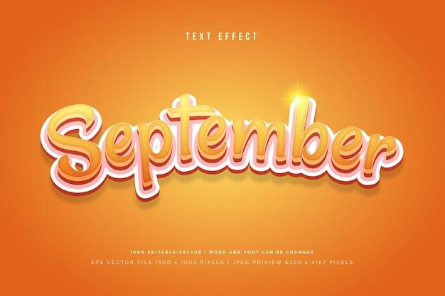 September 3d text effect on orange background