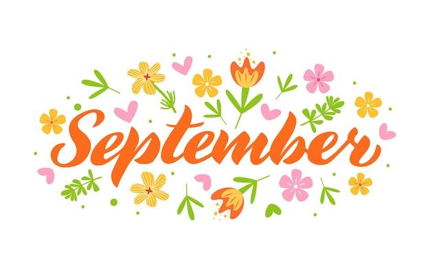 September hand drawn lettering month name hand written month september for calendar monthly