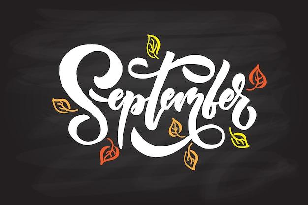 September lettering typography modern september calligraphyvector illustration textured background