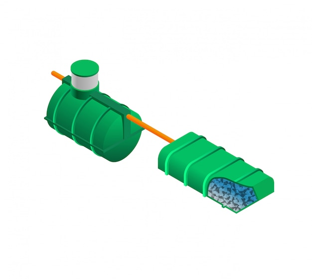 Septic tank model isometric