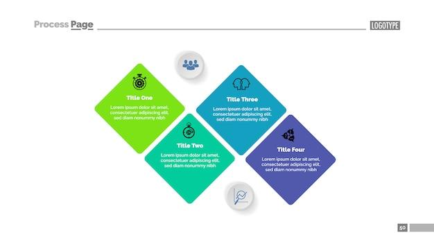 4つの段階のシーケンス図テンプレート。ビジネスデータ。グラフ、チャート