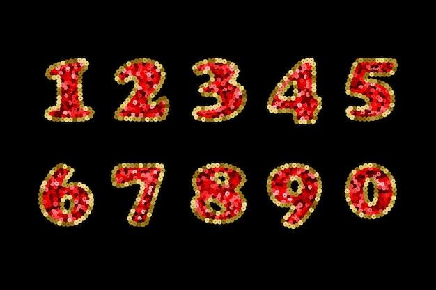 スパンコールの赤と金のベクトル番号パート5