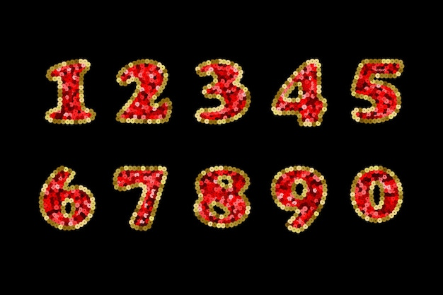Sequin red and gold vector numbers part 5