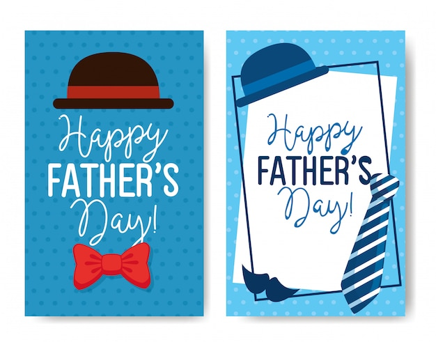 Ser cards of happy fathers day with decoration