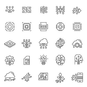Ser of circuit technology icons