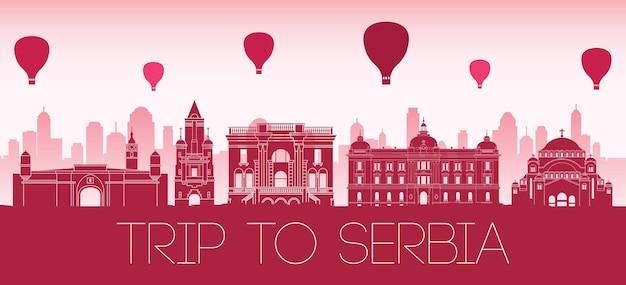 Стиль силуэта известных достопримечательностей сербии