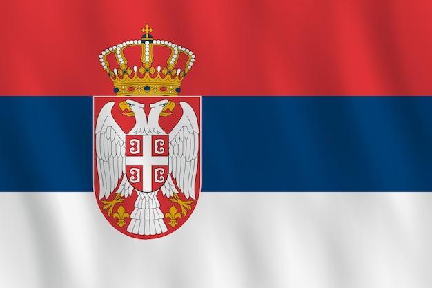 Флаг сербии с развевающимся эффектом, официальная пропорция.
