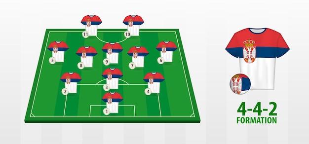 Serbia national football team formation on football field.