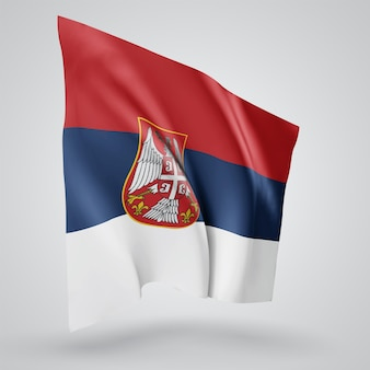 Serbia, vector flag with waves and bends waving in the wind on a white background.