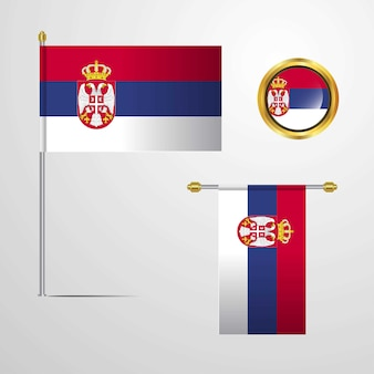 Serbia waving flag design with badge vector