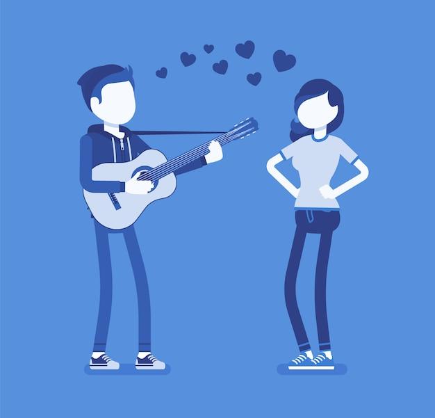 セレナーデデートのカップル。ロマンチックな歌を歌い、最愛の女性のためにギターを弾く愛の若い男は、かなりのガールフレンド、素敵な愛の表現を楽しませる。顔のないキャラクターのイラスト
