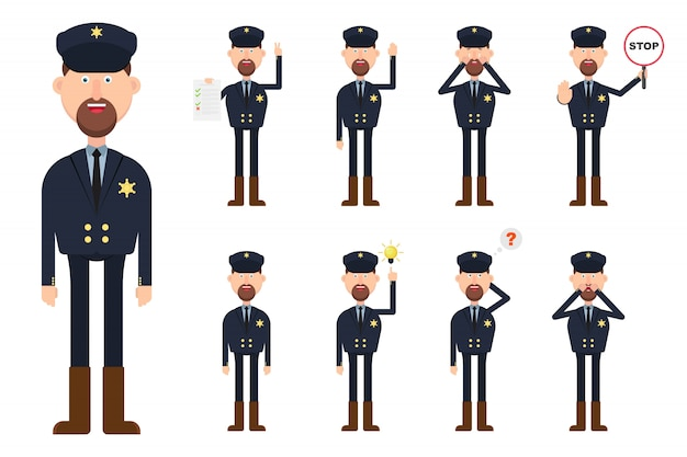 Seriff character in different position and emotions  illustration