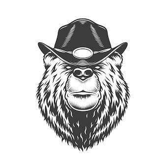 Серьезная голова медведя в гангстерской шляпе
