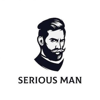 Serious face logo design for men vector templates