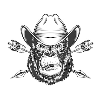 Serious gorilla head in cowboy hat