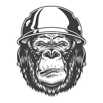Серьезная горилла в монохромном стиле