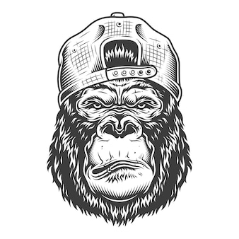 Serious gorilla in monochrome style