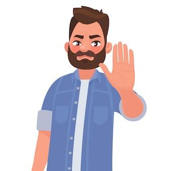Серьезный мужчина показывает жест остановки. в мультяшном стиле
