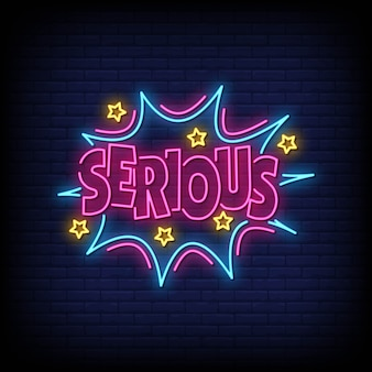 Serious neon signs style text