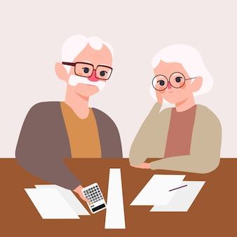 Serious stressed elderly couple. grandfather with grandmother worried about asset management illustration. money problem and retirement plan concept
