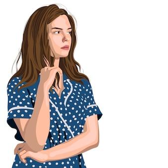 Серьезная молодая девушка в синем платье в горошек думает о чем-то