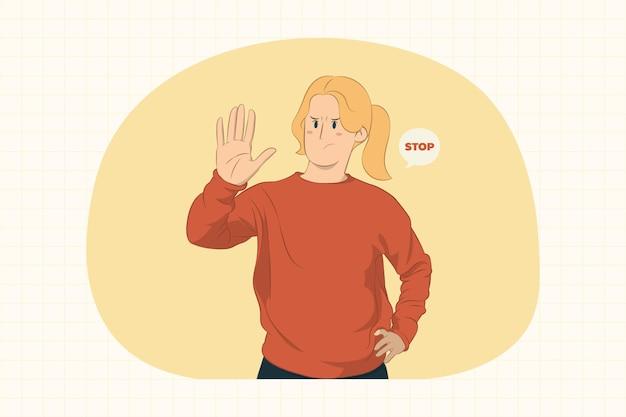 Серьезная молодая женщина показывает жест стоп с концепцией ладони