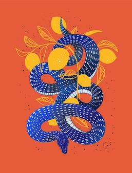 蛇蛇手描きベクトルイラストとグランジテクスチャポスターtシャツプリントカバー