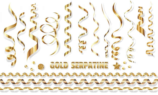 Serpentine set, bright golden spirals on white