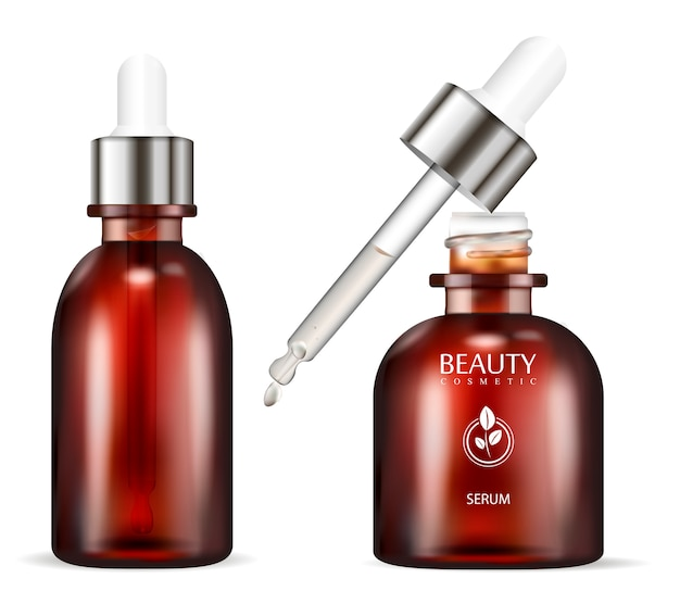 Serum bottle with dropper.