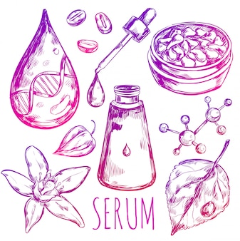Serum drop cream elements