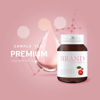Serum pink drop for beauty and cosmetic concept