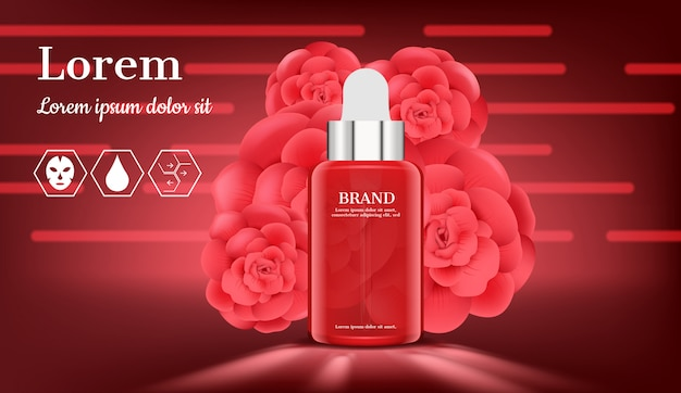 Serum with blooming roses on red