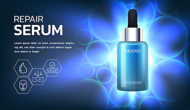 Serum with bright light and bubble background