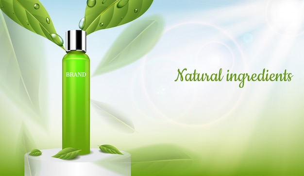 Serum with green leaves and shining light on round podium