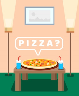 Served pizza on table color vector illustration