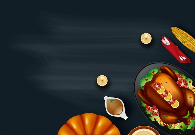 Served split roasted stuffed small turkey and vegetables, top view copyspace background