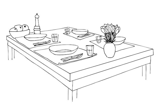 提供されるテーブル。皿、グラス、ナイフ、フォーク、そしてテーブルの上に花が飾られた花瓶。テーブルの手描きのスケッチ。ベクトルイラスト。