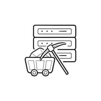 서버와 곡괭이 손으로 그린 개요 낙서 아이콘. 데이터 마이닝, 데이터 및 분석 개념