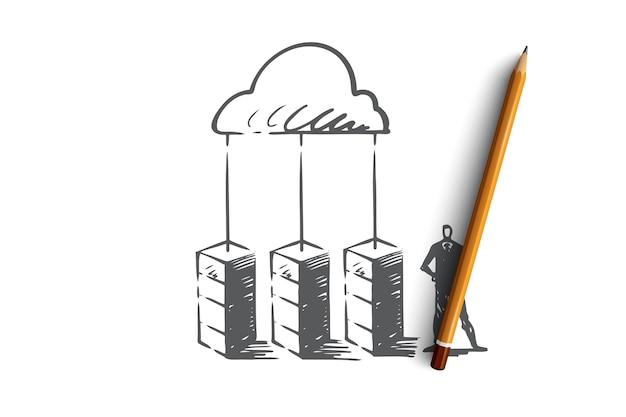サーバー、クラウド、システム、データベース、ストレージの概念。手描きのストレージセンターとマネージャーのコンセプトスケッチ。