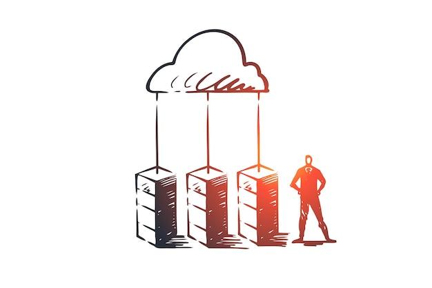 Сервер, облако, система, база данных, концепция хранения. нарисованный рукой эскиз концепции центра хранения и менеджера.