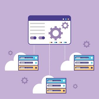 서버 제어판 호스팅 소프트웨어 벡터 일러스트레이션 제어판으로 서버 관리