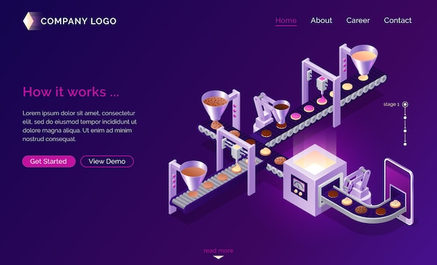 Server cookies technology, isometric concept