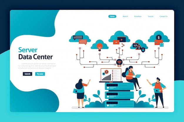 Server data center landing page