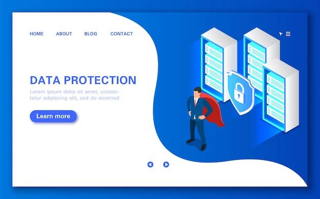 サーバーデータ保護の概念ハッカーの攻撃から保護するソフトウェアフラットアイソメトリック