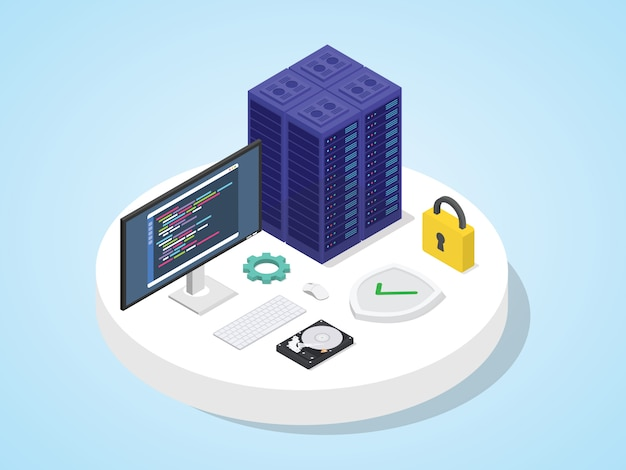 Server defended by shield with padlock. server security concept isometric 3d design modern flat style