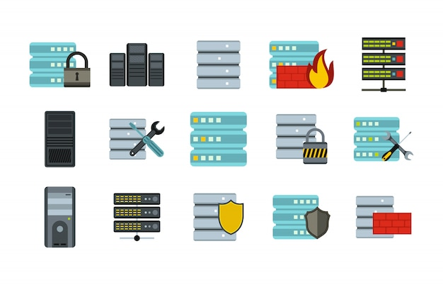 Server icon set. flat set of server vector icons collection isolated