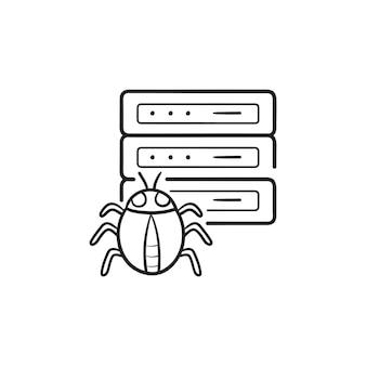 버그 손으로 그린 윤곽선 낙서 아이콘이 있는 맬웨어에 감염된 서버. 자동화된 맬웨어 검사 개념입니다. 인쇄, 웹, 모바일 및 흰색 배경에 인포 그래픽에 대한 벡터 스케치 그림.